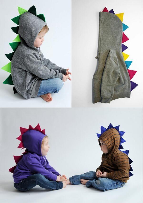 子供用の恐竜デザインのパーカー。かわいい(via http://etsy.com/listing/116053)