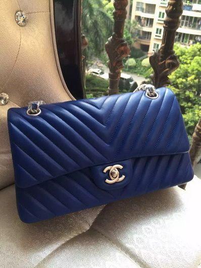 9f90c898f8ea Wholesale Chanel 1112 Flap V bag dark blue sheep silver
