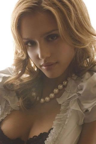 Jessica Alba Sexy Wearing Pearls Beauty Actress