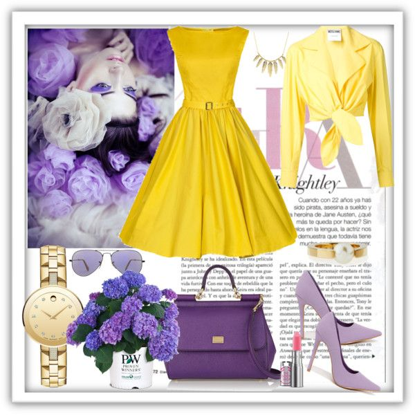 Women's lilac flower by milkalilien on Polyvore featuring Moschino, Dolce&Gabbana, Movado, Chloé, Charlotte Russe and Ray-Ban