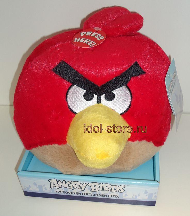 """Angry Birds, Red plush toy. Мягкая игрушка из мультфильма """"Сердитые Птички"""", Красная птица Red озвученная. Где купить в СПб"""