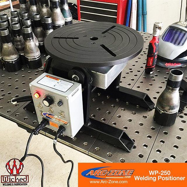 The WP-250 Welding Positioner on www.Arc-Zone.com is a powerful solution for consistent holding and rotating of parts in any welding workstation. Provides manual tilt adjustment high frequency protection and a heavy-duty foot control switch. Thanks for sharing @wicked_welding! Rotation Speed: 0 To 5.5 RPM 230V EU Model Also Available FREE Shipping Within Continental U.S. Delivered To Your Door Within 5 Business Days  #WeldingPositioner #WeldLikeAPro #ArcZone #Welding