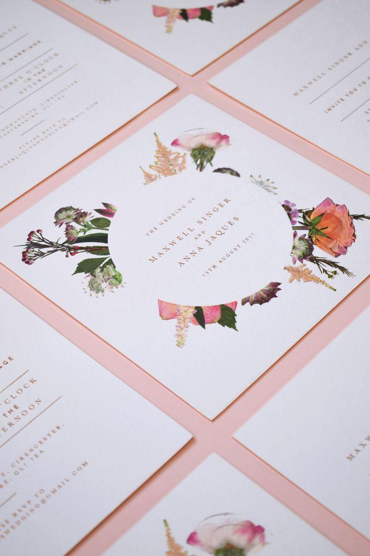 Pressed Flower Wedding Invitations from Nicety Studio. Follow us on Instagram @nicetystudio