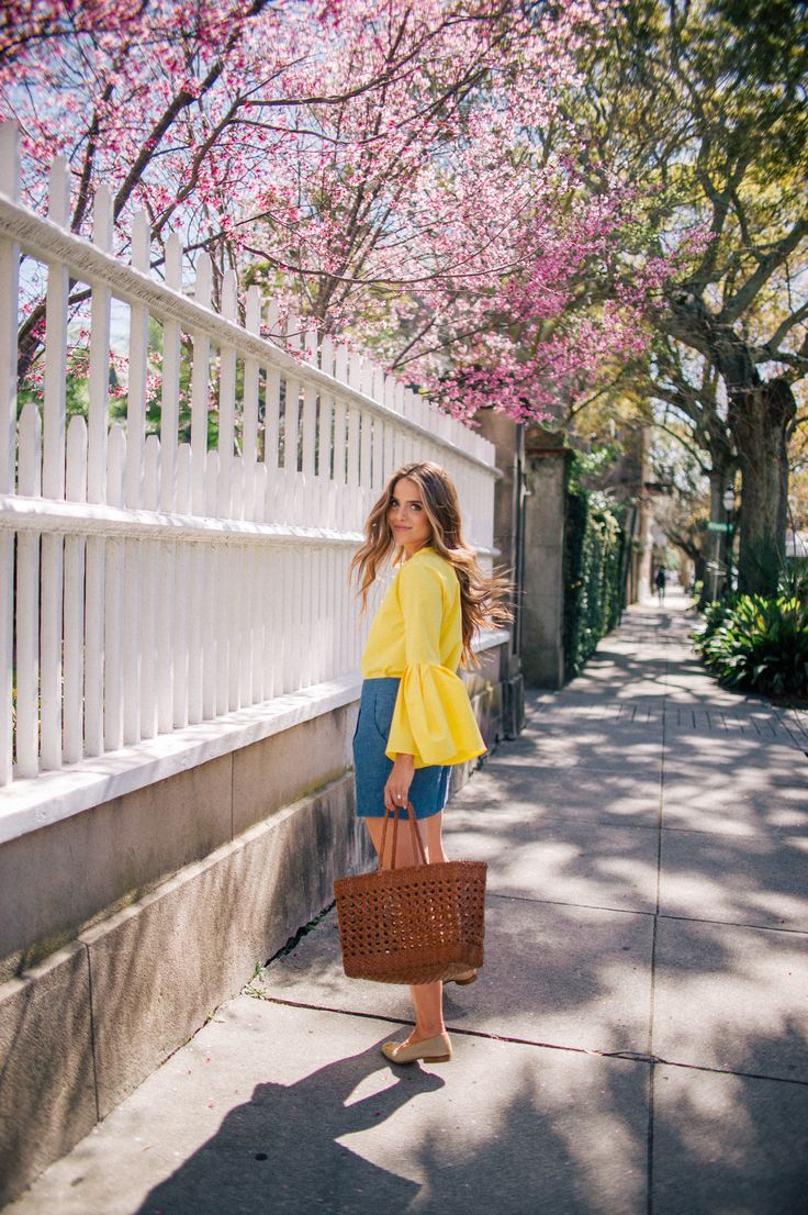 Gal Meets Glam Yellow Bell Sleeved Top - Zara top, Sezane skirt, Stubbs & Wootton loafers & Dragon Diffusion tote