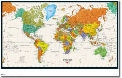 world map physical and political art poster print