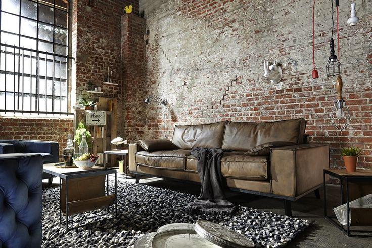 Ledersofa Dwayne Vintage Leder 2,5 Sitzer im Industriestil. (Furniture Designs Vintage)