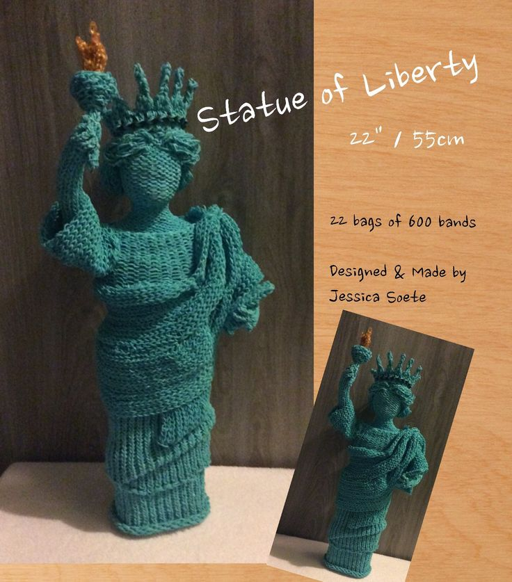 Rainbow loom 'Statue of liberty' aka 'Lady Liberty.  January 2015