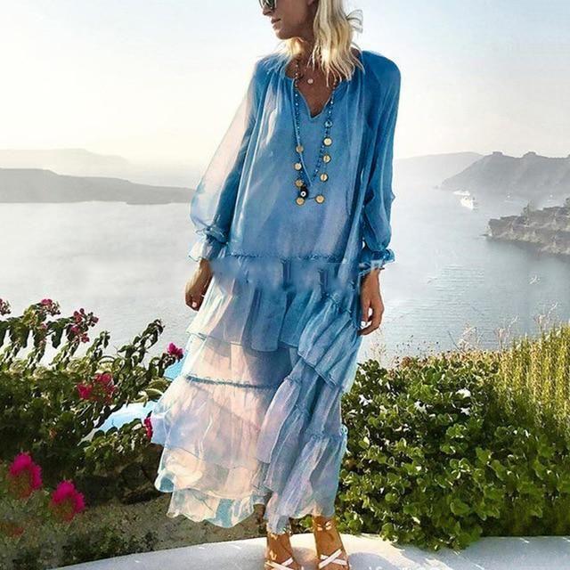 90d923a217d47 CHICEVER Spring Patchwork Ruffles Women's Dresses V Neck Petal ...