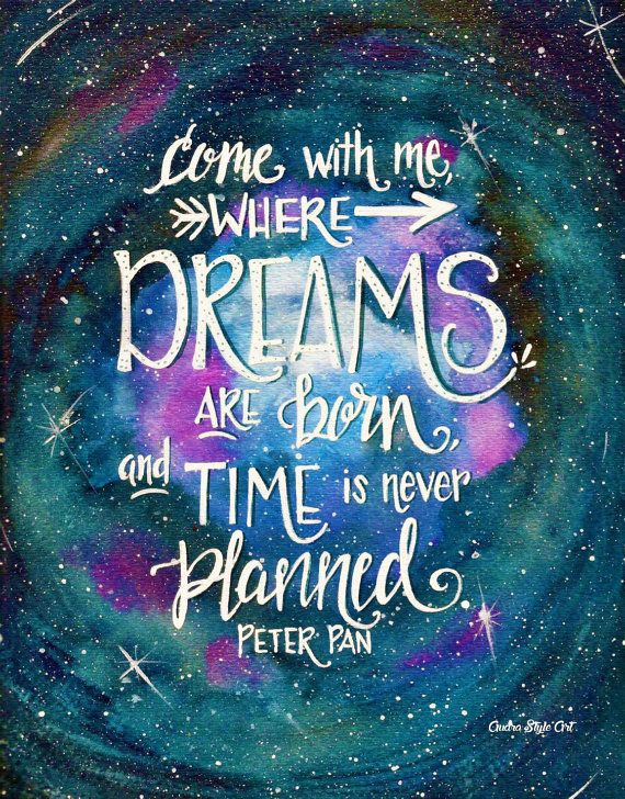 Nursery Decor / Childrens / Peter Pan Dreams Painting / Quote / Watercolor Acrylic Lettering / Wall Art / 8x10 / Print Poster/ Night Sky Art