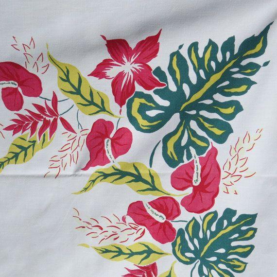 Vintage 1950 S Hawaiian Print Tablecloth By Simtex