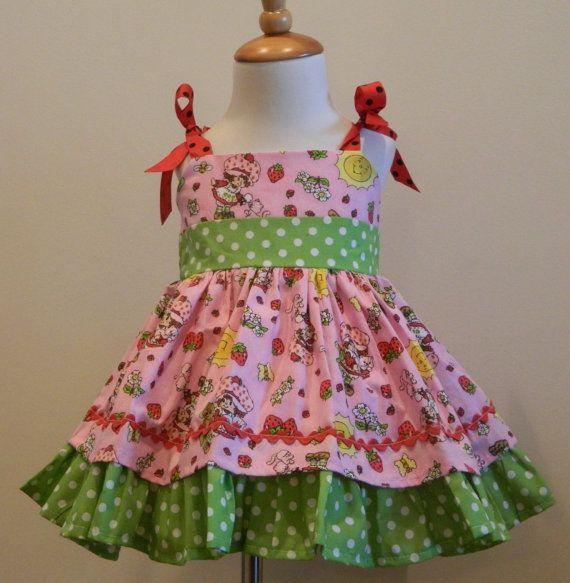 Girls Pink and Green Strawberry Shortcake Jumper Dress