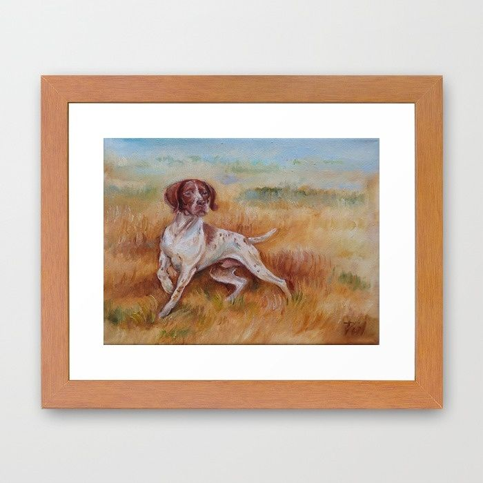 POINTING DOG Framed Art Print by Canisart #art #artprint #painting #dog #pointer #animalart #home #decor #walldecor #design #canisart #canisartstudio