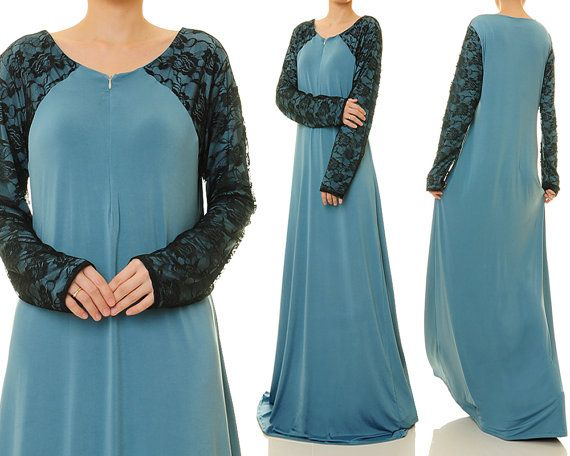 Dusty Blue Floral Lace Front Zip Modest Jersey by Tailored2Modesty