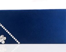 Blue Wedding Shagun Envelope with Silver Flower...