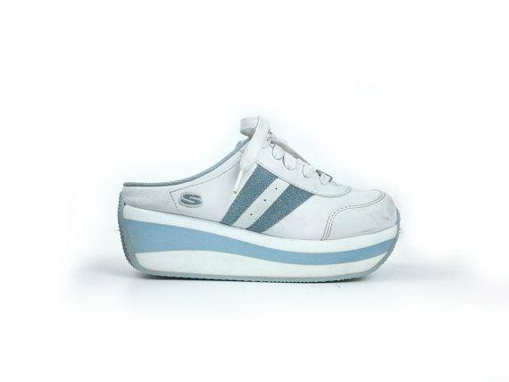 90 S Skechers Baby Blue Glitter Stripe Platform Wedge