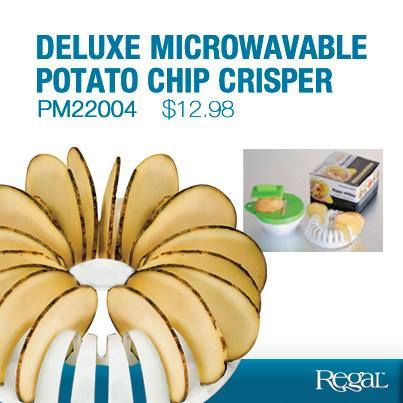DELUXE MICROWAVABLE POTATO CHIP CRISPER    Cook your own oil-free potato chips! Plastic tray cooks up 24 healthy, crispy chips in the microwave - simply slice with included mini mandolin, place in specially designed tray and zap. Great for potatoes, carrots, sweet potatoes, apples and more. Top-rack dishwasher safe.