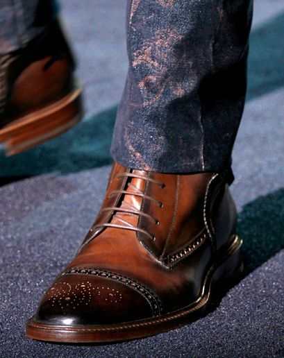 Semi-brogue boots from Gucci. Yeah, I'd wear that. The pants, not so much.