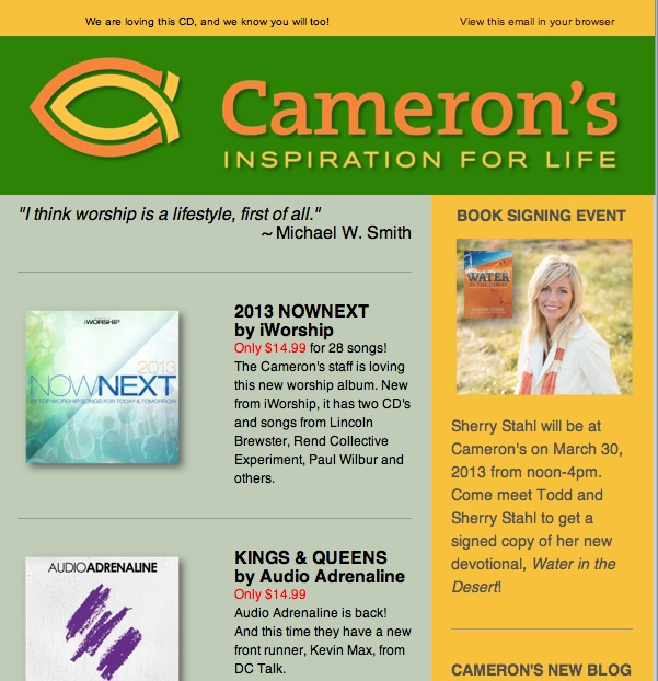 Cameron's Windsor has started their advertising for our book signing while we were in Florida!  So exciting!