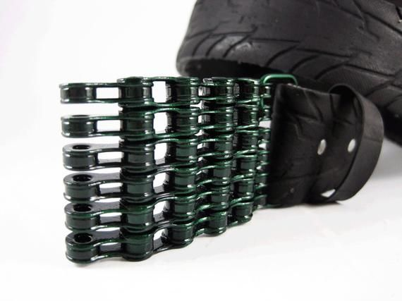 Recycled Bike Chain Belt Buckle Curved Deep Green Finish Chain