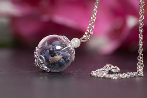 Purple Lavender Necklace Natural Eco Friendly by LomharaJewellery