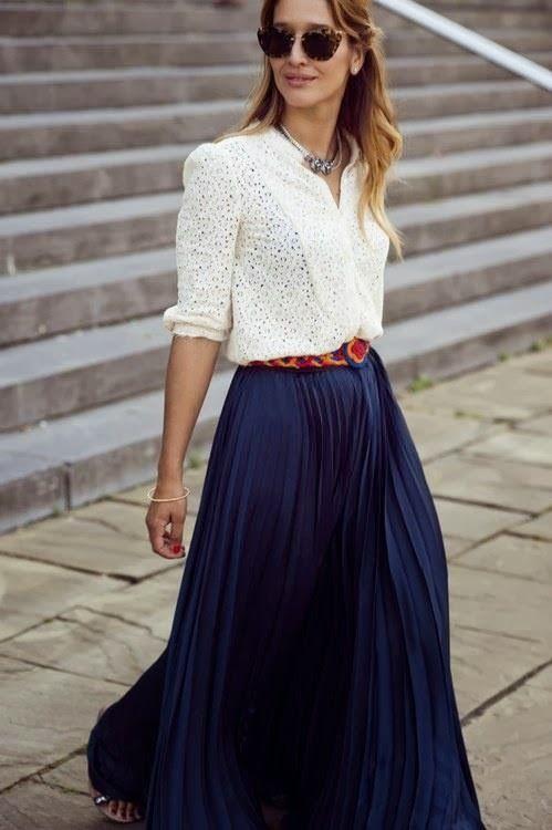 Falda larga azul
