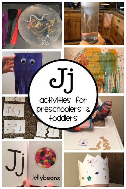 Letter J Activities for preschoolers and toddlers. This is a detailed plan including a Letter J Booklist, Letter J Songs & Rhymes, 3 Letter J Crafts, Letter J Sensory & Science, and a color, number and shape review. Enjoy!