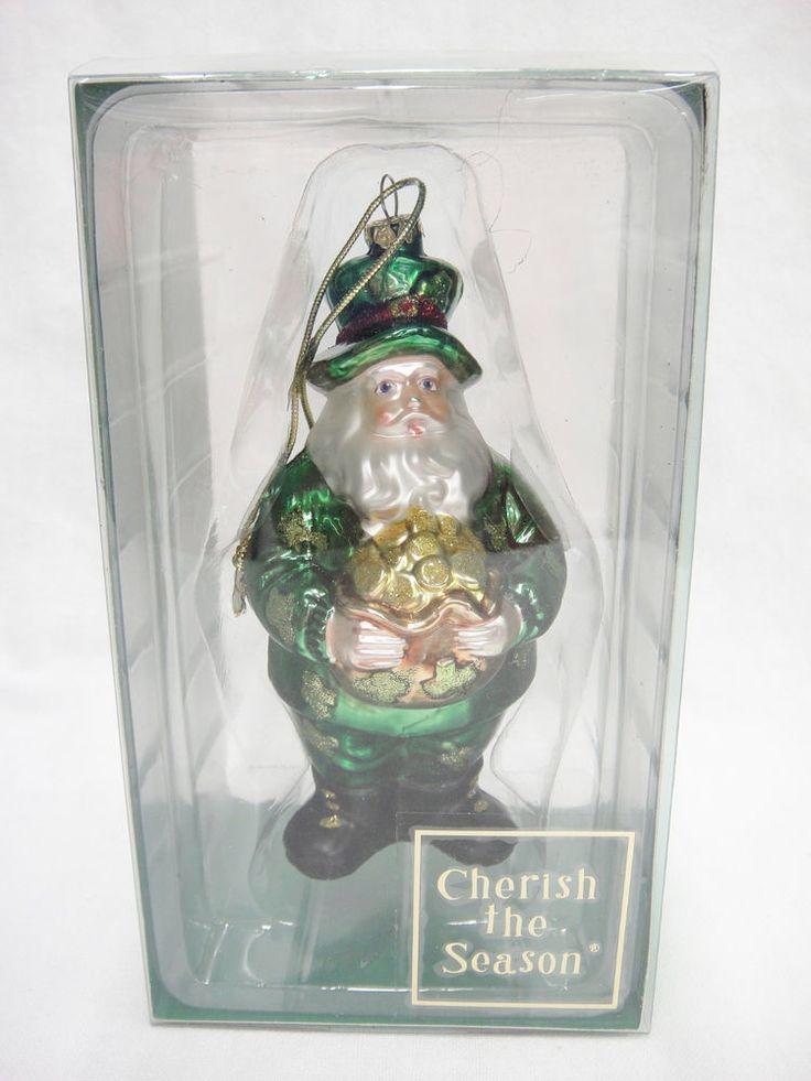"Irish Green Santa Glass Christmas Ornament Holding Pot of Gold Leprechaun 5"""