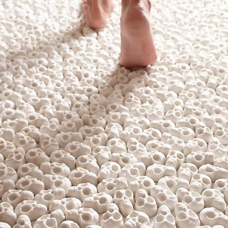 """3,992 Likes, 49 Comments - The Horror Gallery (@thehorrorgallery) on Instagram: """"Skull carpet by Nino Sarabutra  she hand made miniature porcelain skulls and laid down 100,000 of…"""""""