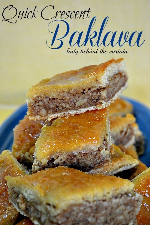Quick Crescent Baklava Recipe  Ingredients  2 – 8 ounce can Pillsbury crescent rolls  3 cups walnut, finely chopped  1/2 cup sugar  1 teaspoon cinnamon  1 glaze recipe (below)  Directions  Heat oven  to 350 degrees.