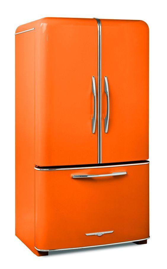 Orange Fridge? It may work in your kitchen #Kitchen #Fridge