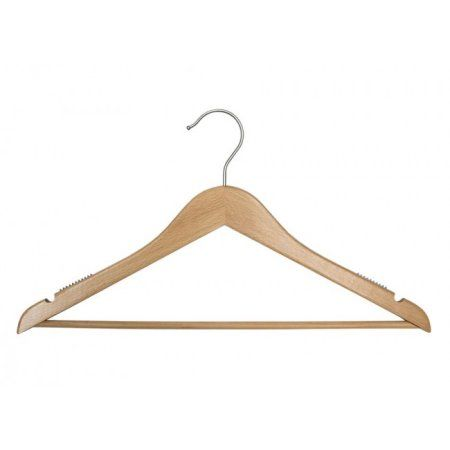 Wooden Suit Hangers - Nahanco Line - 17 inch Low Gloss Beech - Home Use
