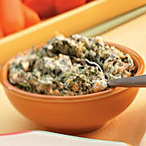 "Warm Spinach Dip Recipe -""I created this lighter version of a hot spinach dip after my husband and five kids raved about a similar appetizer at one of our favorite restaurants,"" says Debbie Marrone of Warner Robins, Georgia. TIP: ""It's great with tortilla chips, bagel chips or low-fat wheat crackers,"" Debbie suggests."