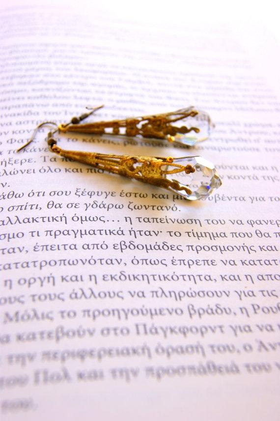 Retro swarovski earrings by RenatasArt on Etsy, €25.00