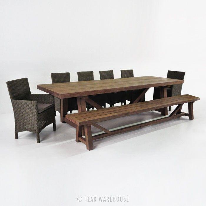 teak outdoor dining table ebay set large round bench