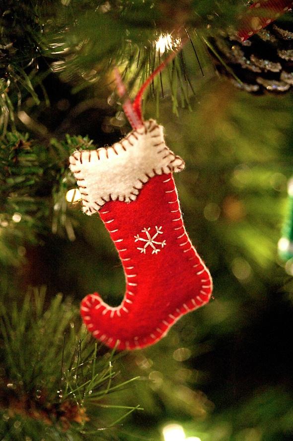 *FELT ART ~ Tree Stocking Ornament, Homemade Christmas