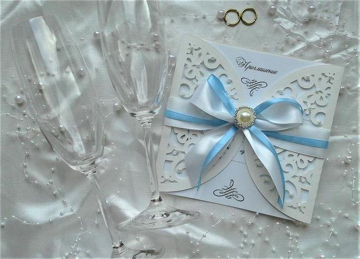 Красивые ажурные пригласительные на свадьбу.  Нежные приглашения ручной работы на свадебное торжество. Выполнены из итальянской бумаги для ...