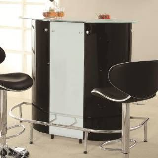 Check out the Coaster Furniture 100654 Contemporary Bar Unit in Black/White with Frosted Glass Top priced at $265.00 at Homeclick.com.