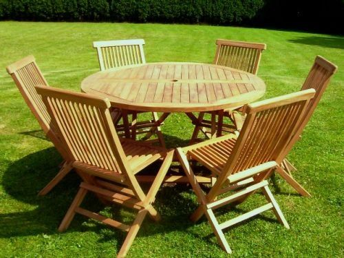 sustainable certified teak 6 seater compact round folding table and chair set with 6 outdoor folding chairs large round quality folding table deli