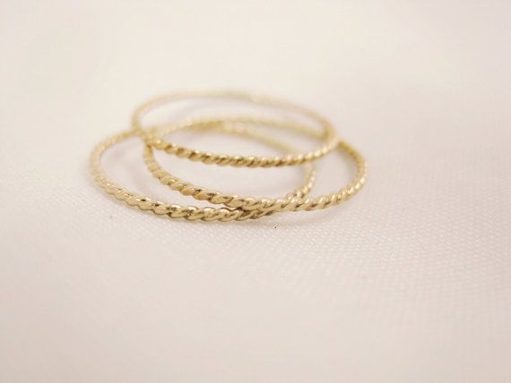 14K Gold Infinity Rope Triple Stacking Rings