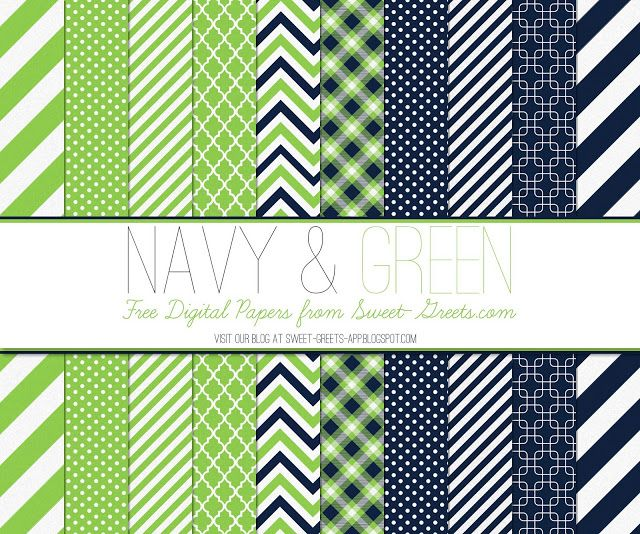 FREE DIGITAL PAPER SET: NAVY AND GREEN
