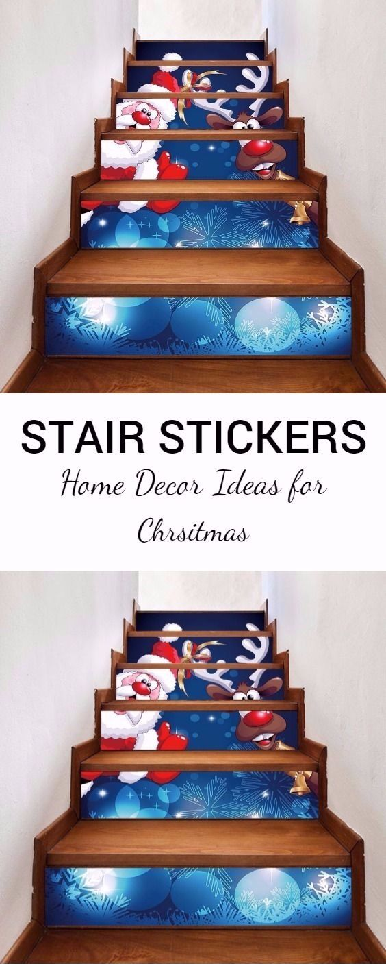 Christmas Santa Deer Pattern Decorative Stair Decals 6PCS