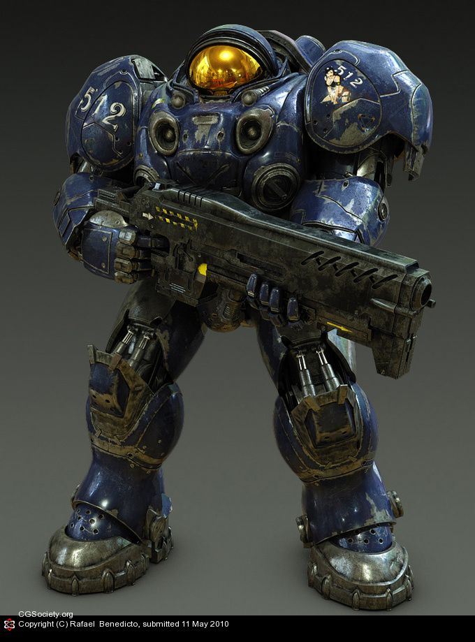 This is another of my favourite designs, the whole suit just looks perfectly orientated for combat, between the large bulky metal pieces and the smaller more detailed inner workings, this suit is a good example of what I could visually imagine a practical human exoskeleton looking like in the future.