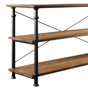 HomeSullivan, Rustic Wood TV Stand with Wroght Iron Supports, 403228-05S at The Home Depot - Mobile