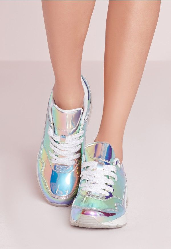 Holographic Bubble Detail Trainers Silver - Missguided