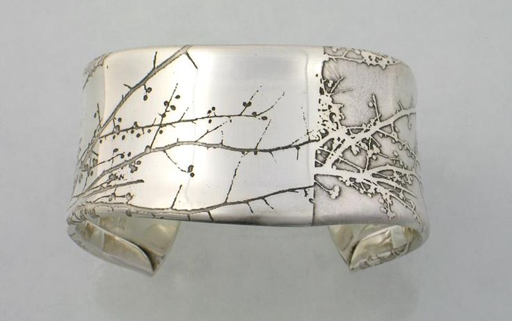 """Etched Sterling Silver """"Branch"""" cuff by Sandra Noble Goss"""
