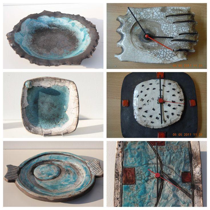 raku plates and wall clocks