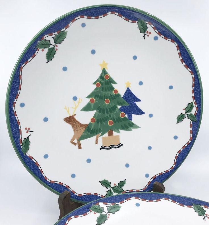 Mikasa #Dinner #Plate (s) Christmas Glow Pattern Deer Tree Japan 11in 1990s Unused #Mikasa #Christmas
