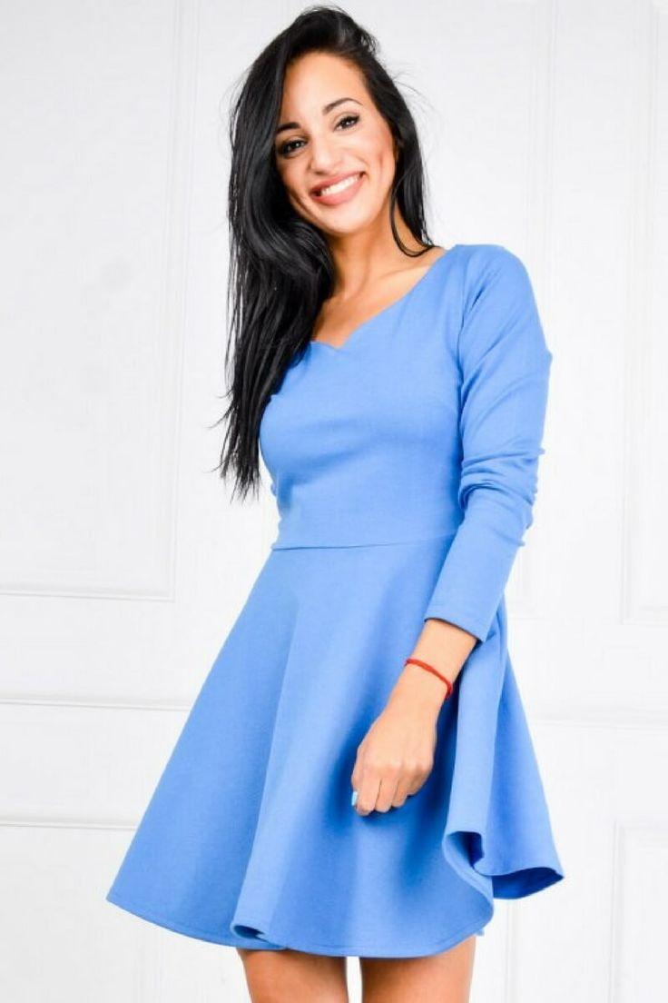 Trapezowa sukienka dekolt serce rozkloszowana, Ona Odzież Sukienki | Sukienki.shop