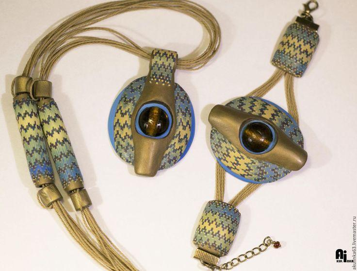Купить Браслет для комплекта Исида - полимерная глина, браслет из полимерной, браслет на шнуре, браслет крупный