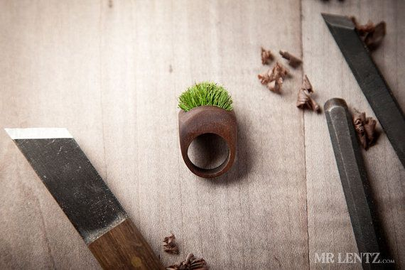 Wood Ring With Grass Handmade Eco Friendly Forest by MrLentz, $84.00